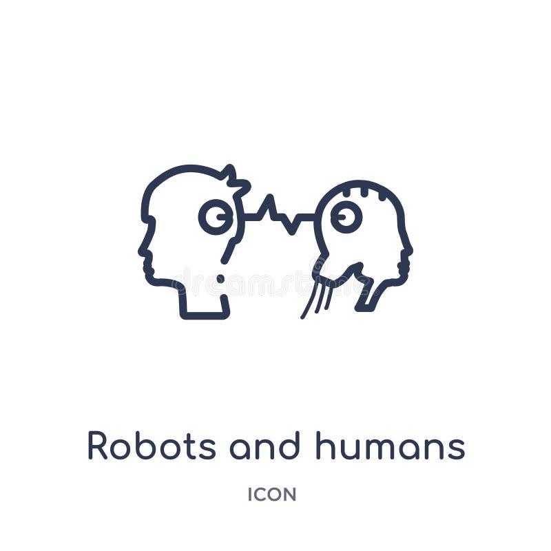 Ícone linear dos robôs e dos seres humanos do intellegence artificial e da coleção futura do esboço da tecnologia Linha fina robô ilustração do vetor