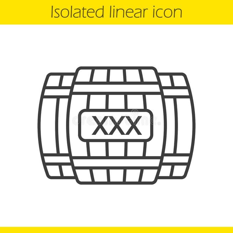Ícone linear dos tambores de madeira do álcool ilustração stock