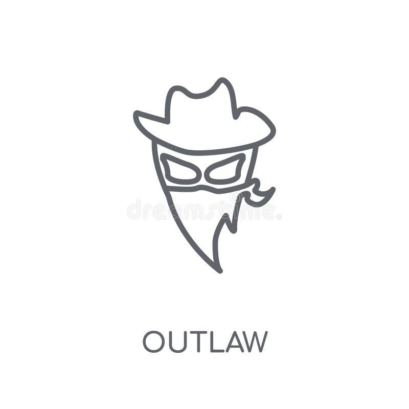Ícone linear foragido Conceito foragido do logotipo do esboço moderno no branco ilustração royalty free