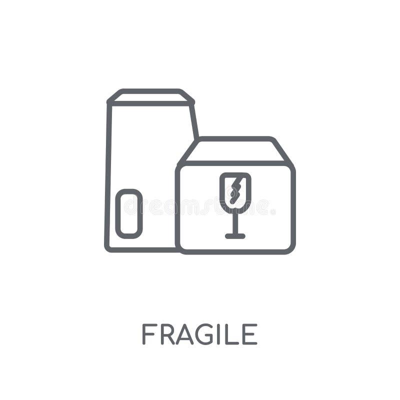 Ícone linear frágil Conceito frágil do logotipo do esboço moderno no whit ilustração stock