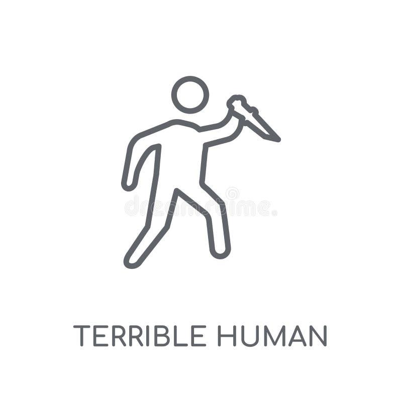 ícone linear humano terrível Logotipo humano terrível c do esboço moderno ilustração do vetor
