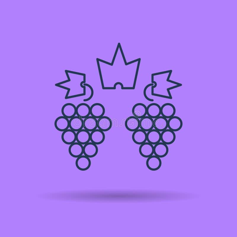 Ícone linear isolado de dois conjuntos de uvas ilustração royalty free