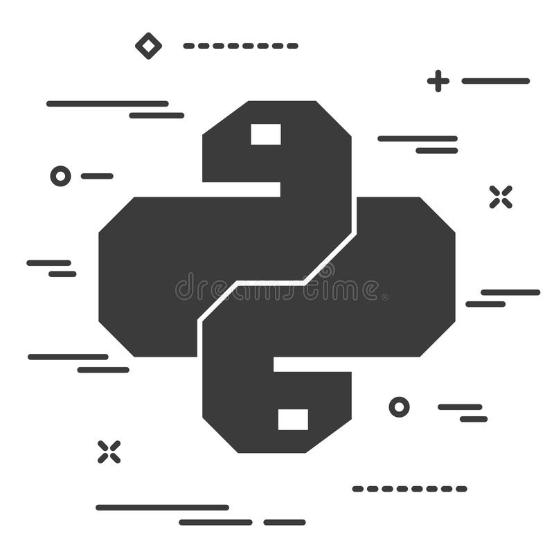 Ícone linear liso do código do pitão Símbolo na moda do vetor da serpente para a Web ilustração do vetor