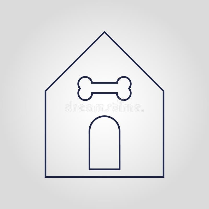 Ícone linear liso isolado ícone do vetor da casa do animal de estimação ou do cão no fundo branco ilustração do vetor