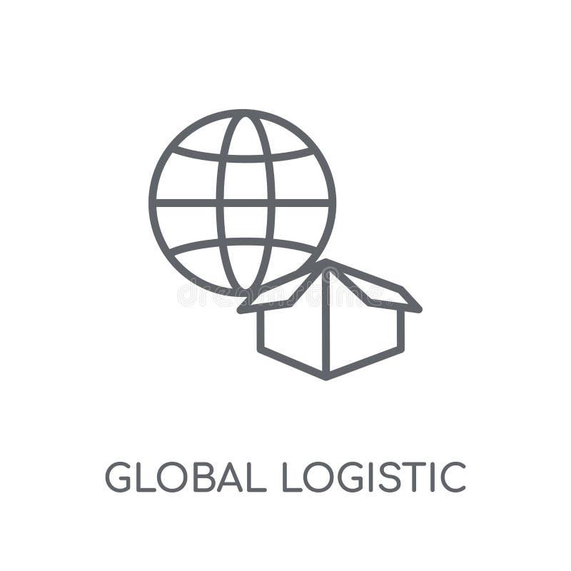 Ícone linear logístico global Logotipo logístico global do esboço moderno ilustração do vetor