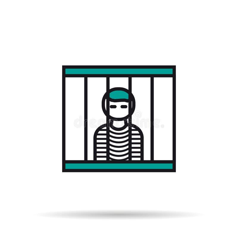 Ícone linear - prisioneiro na pilha ilustração royalty free