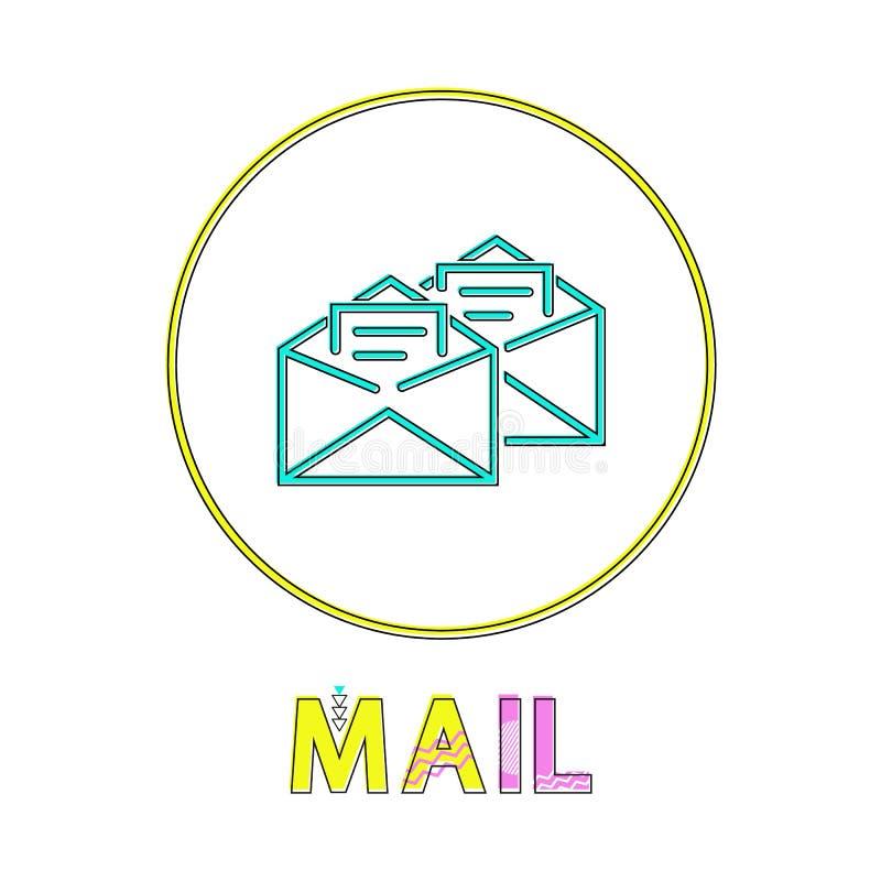 Ícone linear redondo do App do correio com envelopes abertos ilustração do vetor