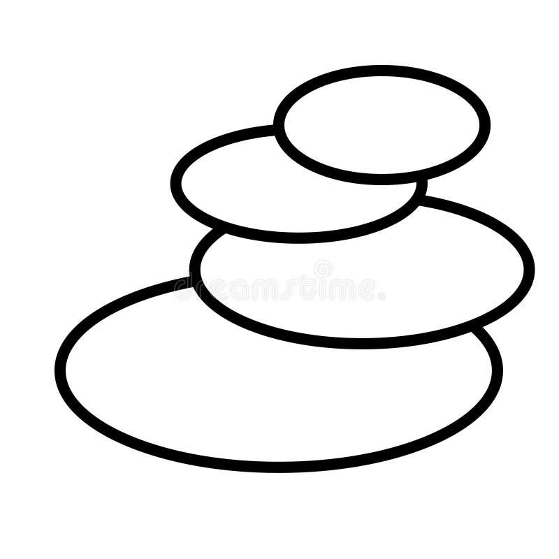 Ícone linear simples preto e branco de pedras redondas ovais glamoroso na moda do basalto para a massagem e a terapia de pedra, o ilustração stock