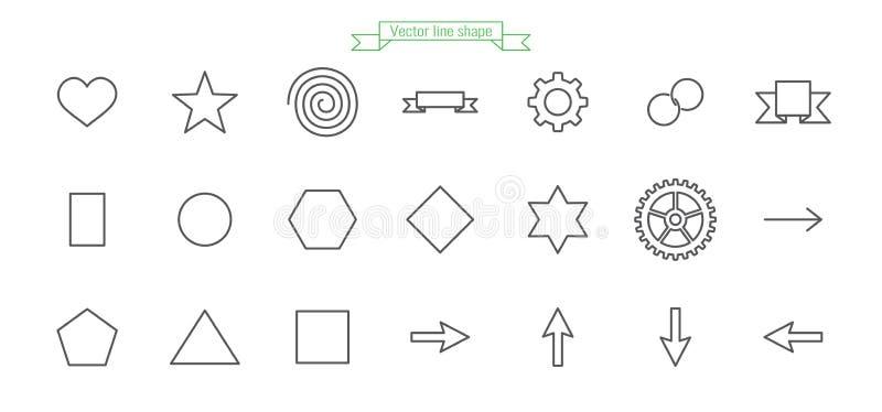 Ícone, linha, grupo, grande, amor, forma, coração, estrela, espiral, bandeira, fita, engrenagem, anel, corrente, círculo, hexágon ilustração stock