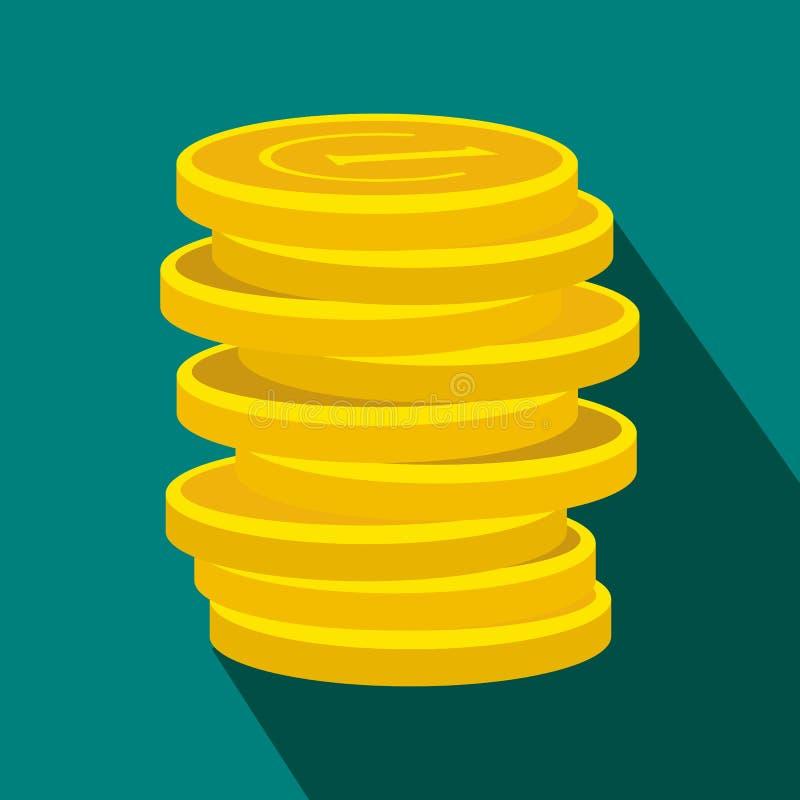 Ícone liso afortunado da moeda de ouro ilustração do vetor