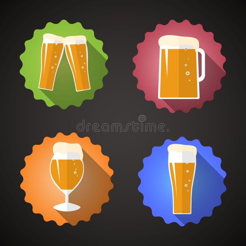 Ícone liso ajustado do vetor do vidro de cerveja ilustração stock