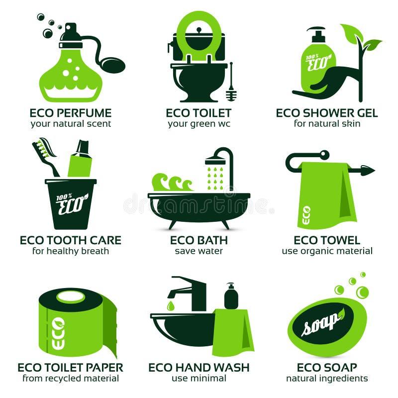 Ícone liso ajustado para o banheiro verde do eco ilustração royalty free