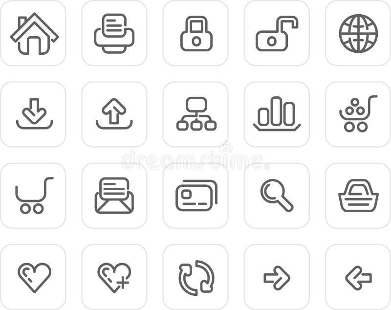 Ícone liso ajustado: Web site e Internet ilustração stock