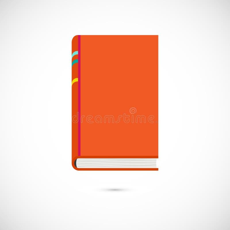 ?cone liso alaranjado do livro de leitura do vetor no branco ilustração do vetor