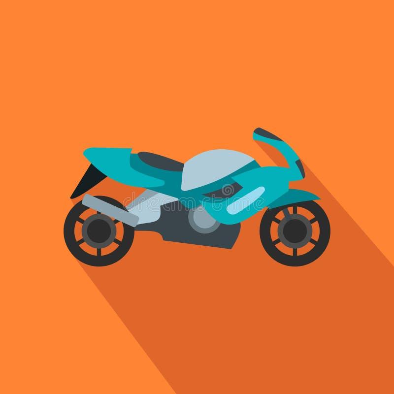 Ícone liso azul da motocicleta ilustração stock