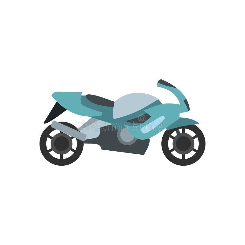 Ícone liso azul da motocicleta ilustração do vetor