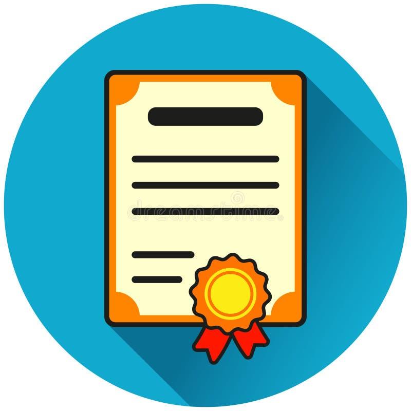 Ícone liso azul do círculo do certificado ilustração do vetor