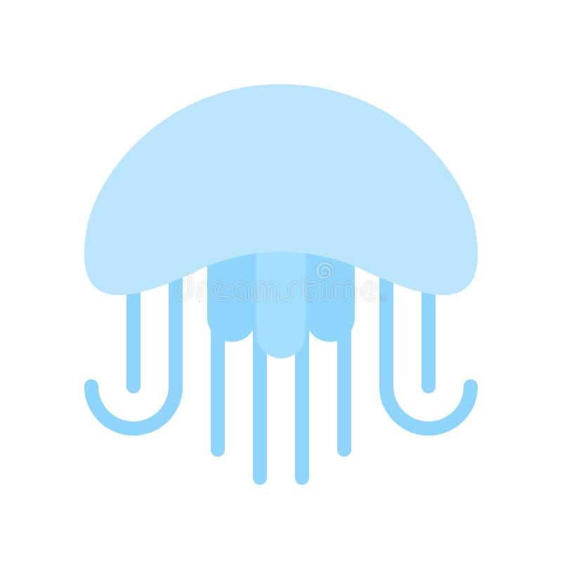 Ícone liso azul do projeto das medusas no fundo branco ilustração do vetor