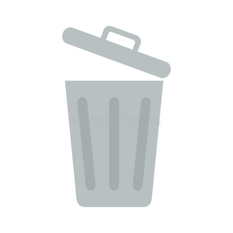 Ícone liso balde do lixo aberto ilustração stock