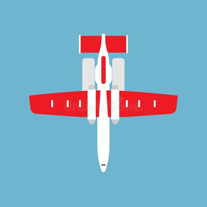 Ícone liso branco internacional da opinião superior do avião de passageiros da pista de decolagem da partida de Airbus isolado ilustração royalty free