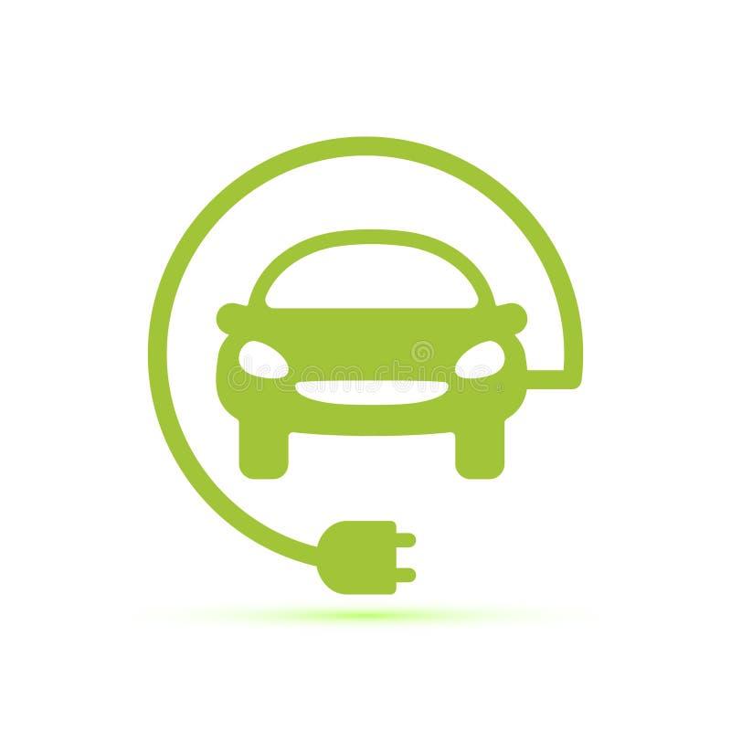 Ícone liso cinzelado da silhueta, projeto simples do vetor Automóvel com a tomada para a ilustração da estação do carro, recarreg ilustração do vetor