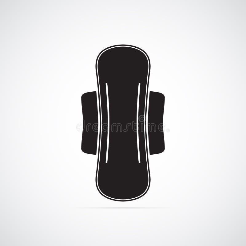 Ícone liso cinzelado da silhueta, projeto simples do vetor Guardanapo sanitário com asas ilustração stock