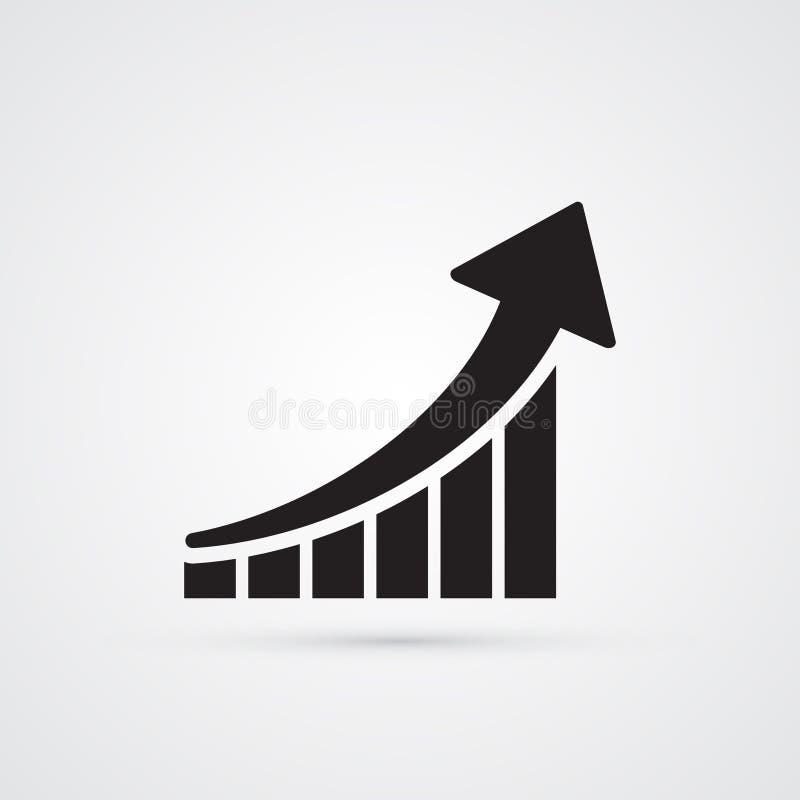 Ícone liso cinzelado da silhueta, projeto simples do vetor Seta com bl ilustração stock