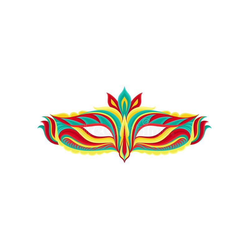 Ícone liso colorido do vetor da máscara bonita do disfarce Acessório brilhante para o partido do carnaval Elemento decorativo par ilustração stock
