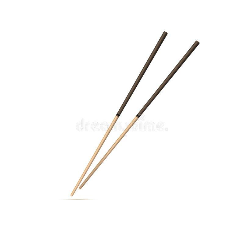 Ícone liso colorido, projeto do vetor com sombra Chopsticks chineses ilustração stock
