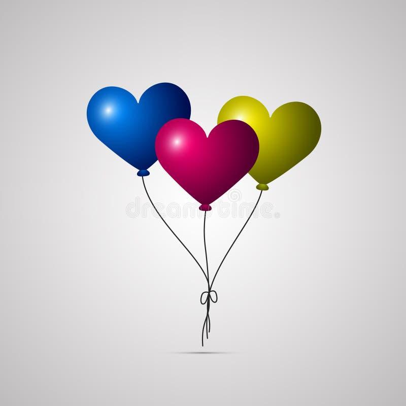 Ícone liso colorido, projeto do vetor com sombra Grupo de balões do coração do aniversário do voo ilustração stock