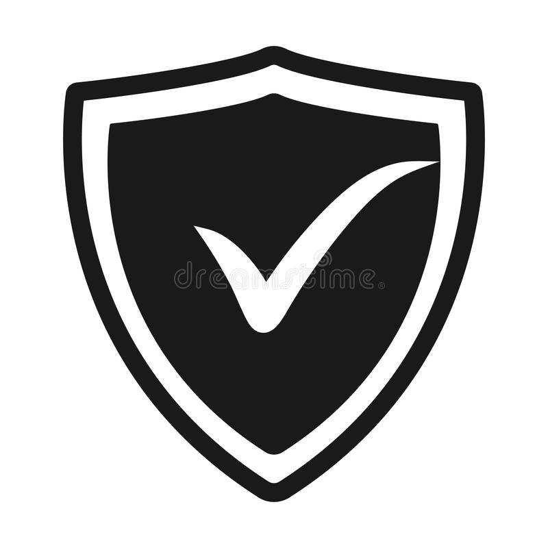 Ícone liso confirmado r Logotipo do vetor para o design web ilustração do vetor