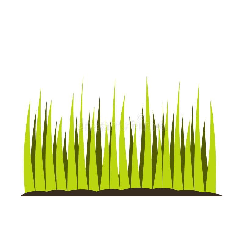 Ícone liso crescente da grama ilustração stock