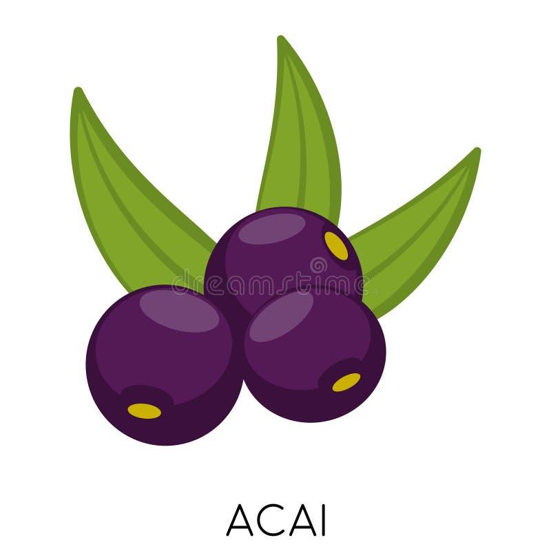 Ícone liso da baga preta de Acai isolado no fundo branco Nutrição fresca exótica de amazon Alimento delicioso de Eco ilustração royalty free