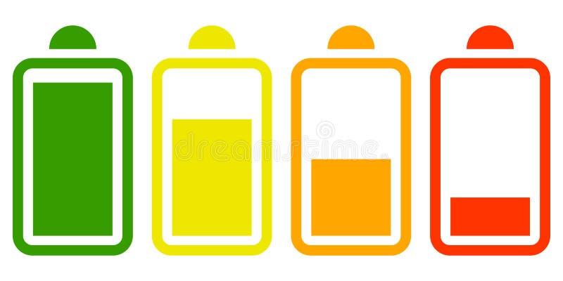 Ícone liso da bateria elétrica no fundo branco ilustração royalty free