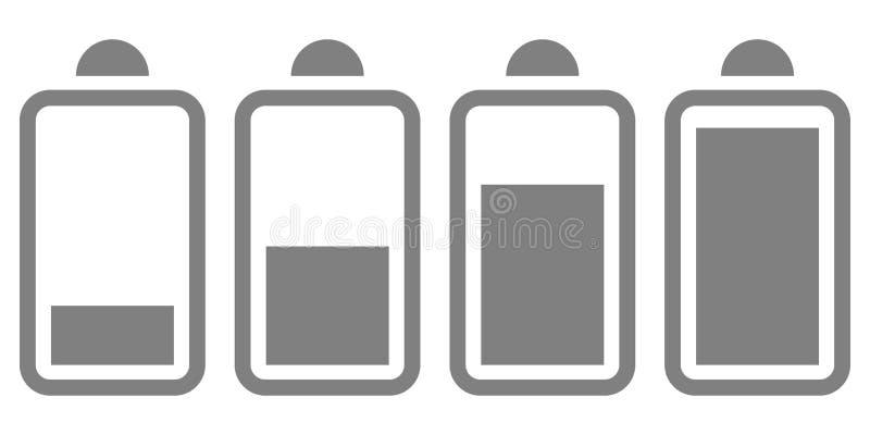 Ícone liso da bateria elétrica no fundo branco ilustração do vetor