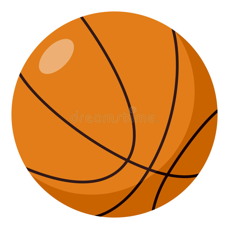 Ícone liso da bola do basquetebol isolado no branco ilustração stock