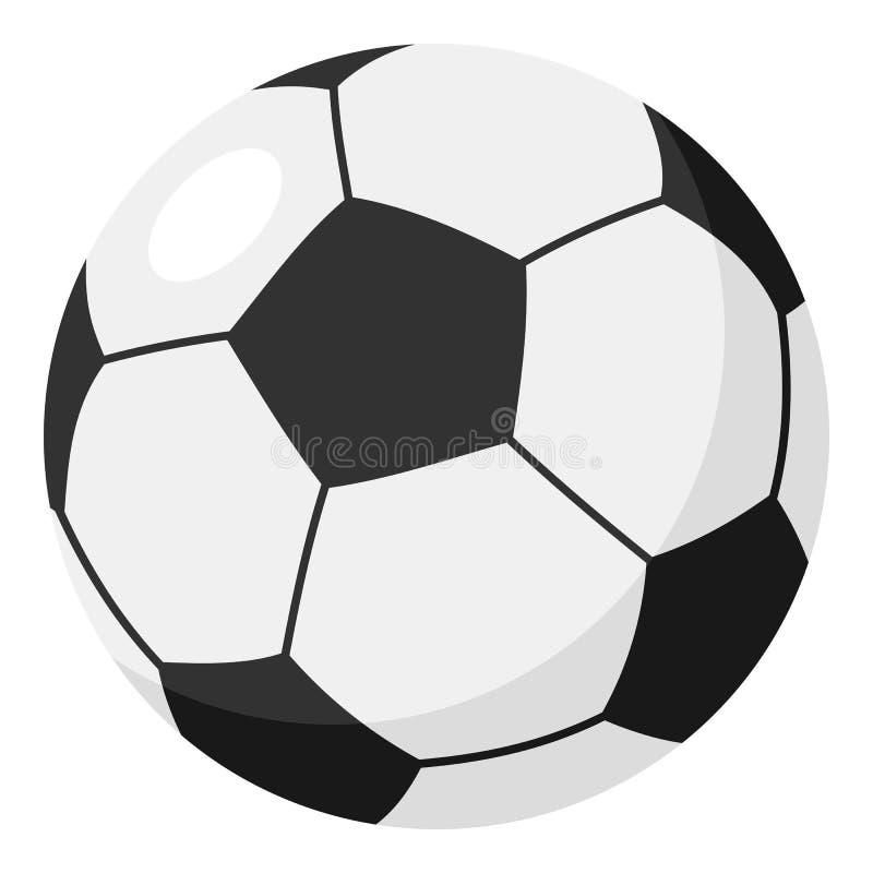 Ícone liso da bola do futebol ou de futebol no branco ilustração royalty free