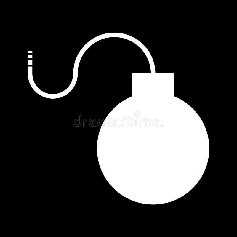 Ícone liso da bomba, isolado no fundo preto Ilustra??o do vetor, projeto moderno ilustração royalty free