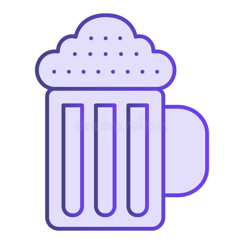 Ícone liso da caneca de cerveja Ícones violetas da bebida no estilo liso na moda Projeto do estilo do inclinação do bar, projetad ilustração stock