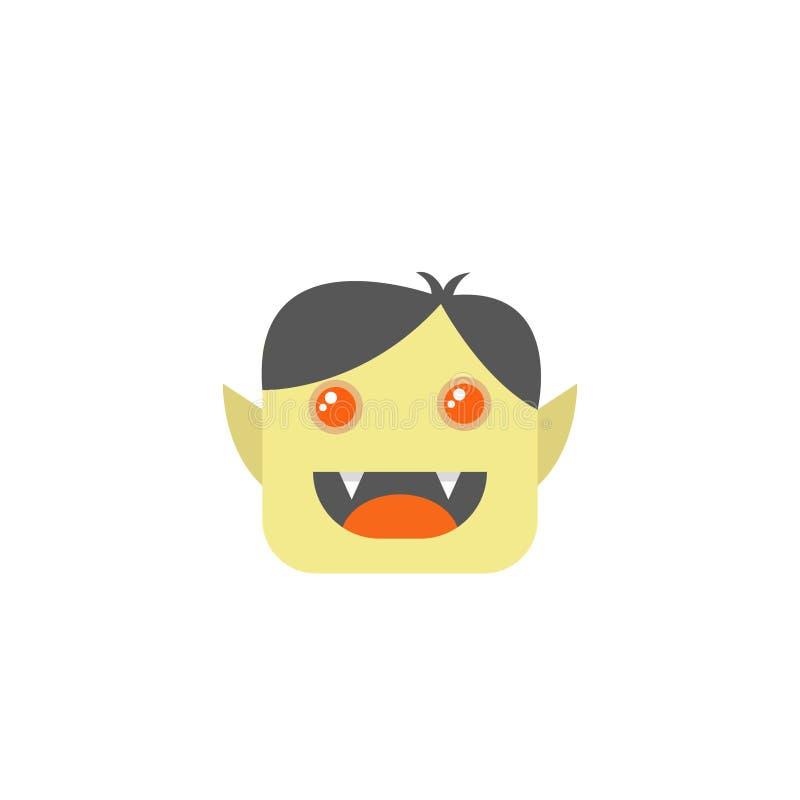 Ícone liso da cara do vampiro dos desenhos animados da arte do quadrado simples do vetor ilustração royalty free