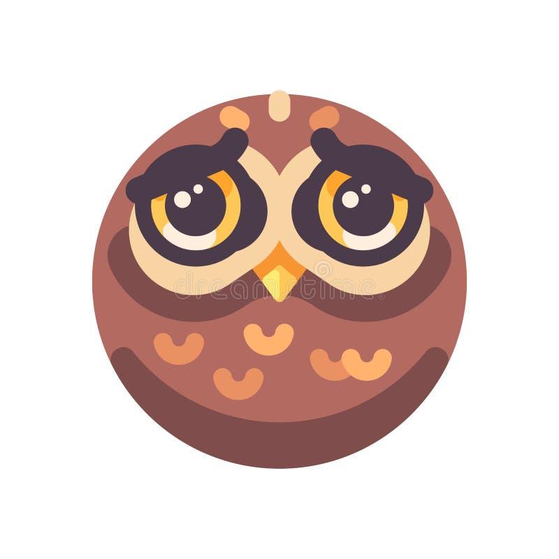 Ícone liso da cara marrom triste engraçada da coruja ilustração royalty free