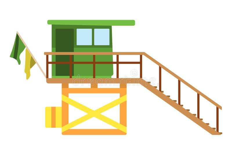 Ícone liso da casa de Baywatch Ilustração do vetor dos desenhos animados ilustração royalty free