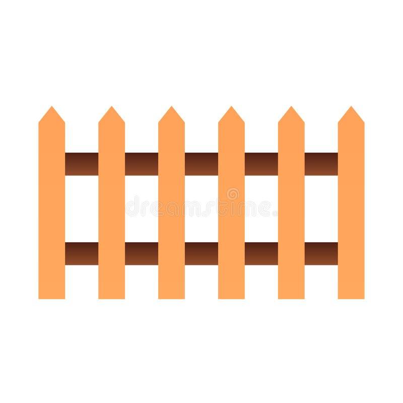 Ícone liso da cerca Jardim que cerca ícones da cor no estilo liso na moda Projeto do estilo do inclinação da barreira, projetado  ilustração stock