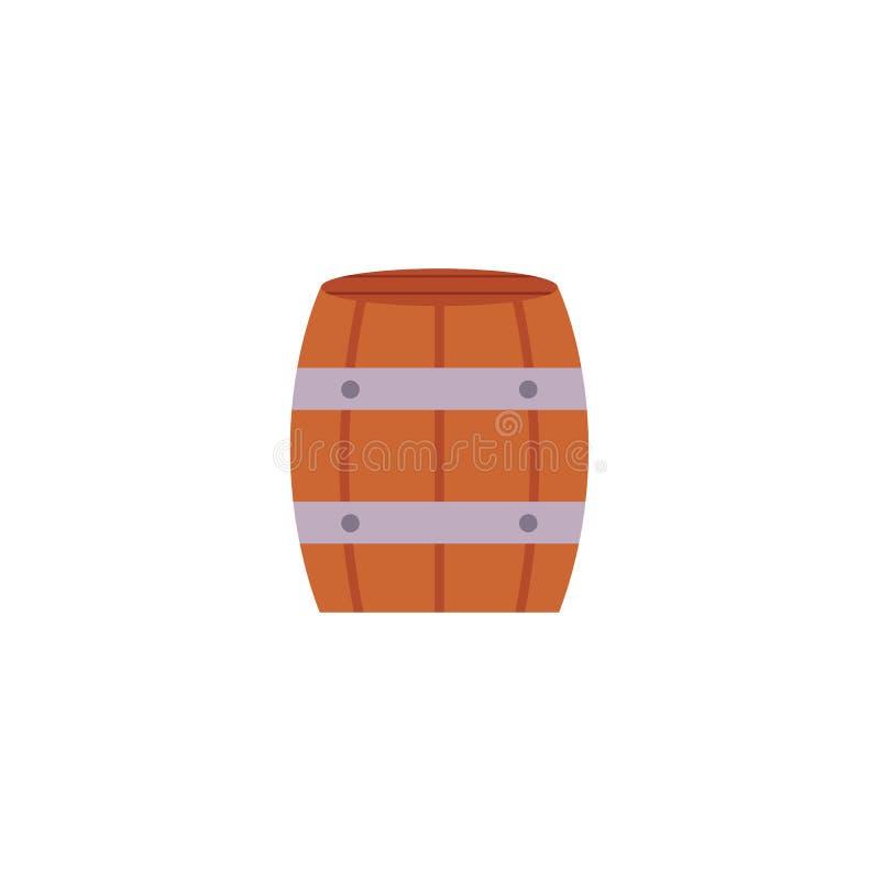 Ícone liso da cerveja de madeira, rum, tambor de vinho ilustração do vetor