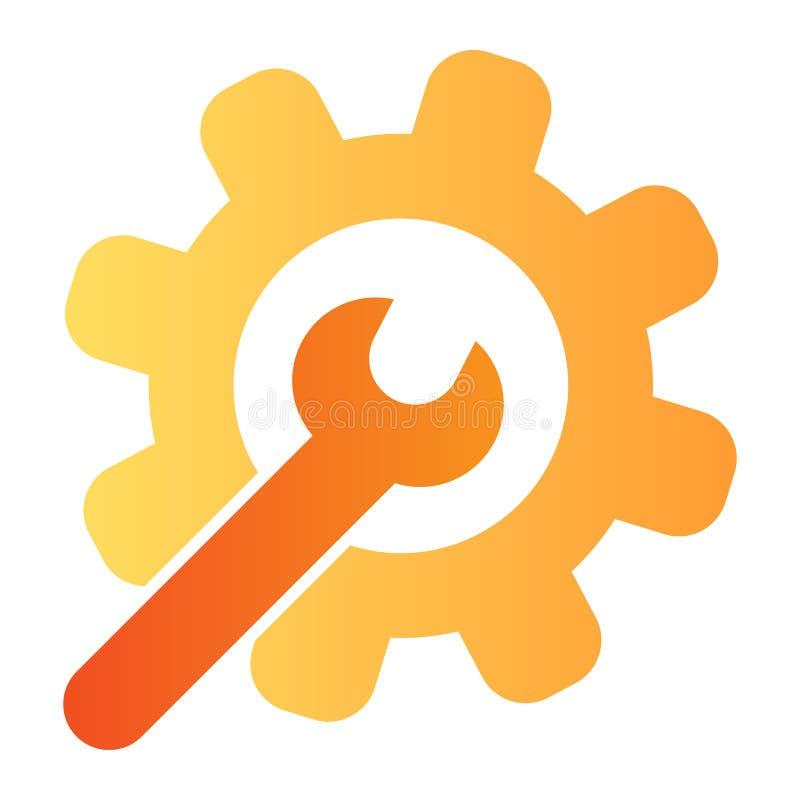 Ícone liso da chave e da engrenagem As ferramentas do serviço colorem ícones no estilo liso na moda Projeto do estilo do inclinaç ilustração stock