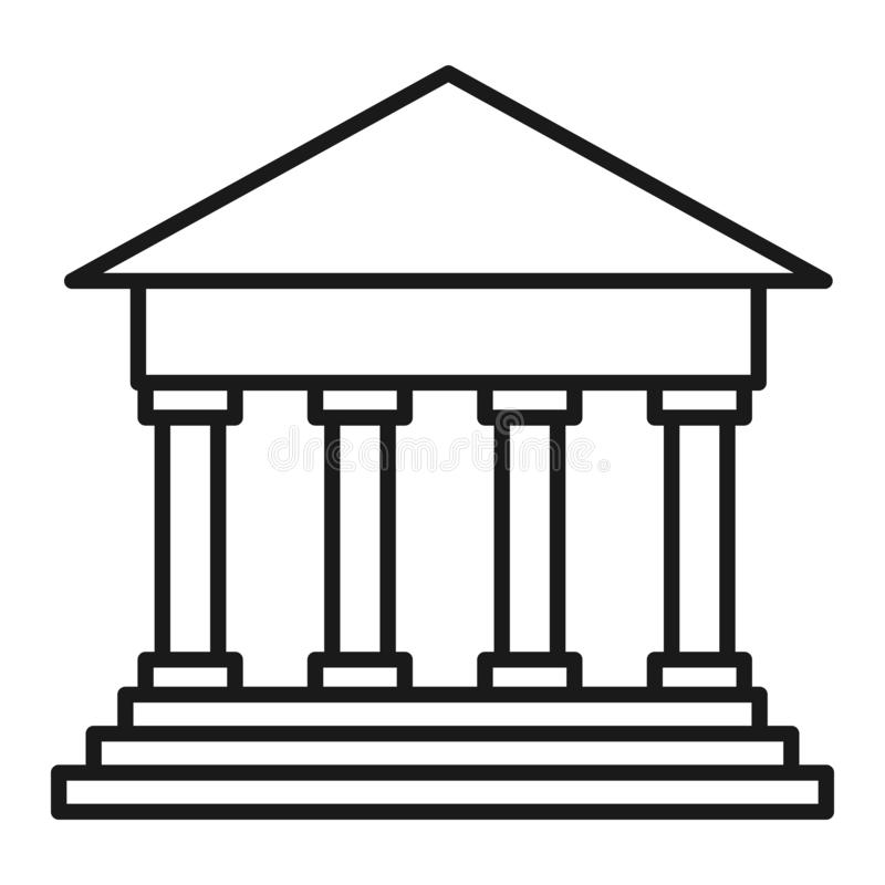 Ícone liso da construção de banco Ilustração do vetor ilustração royalty free