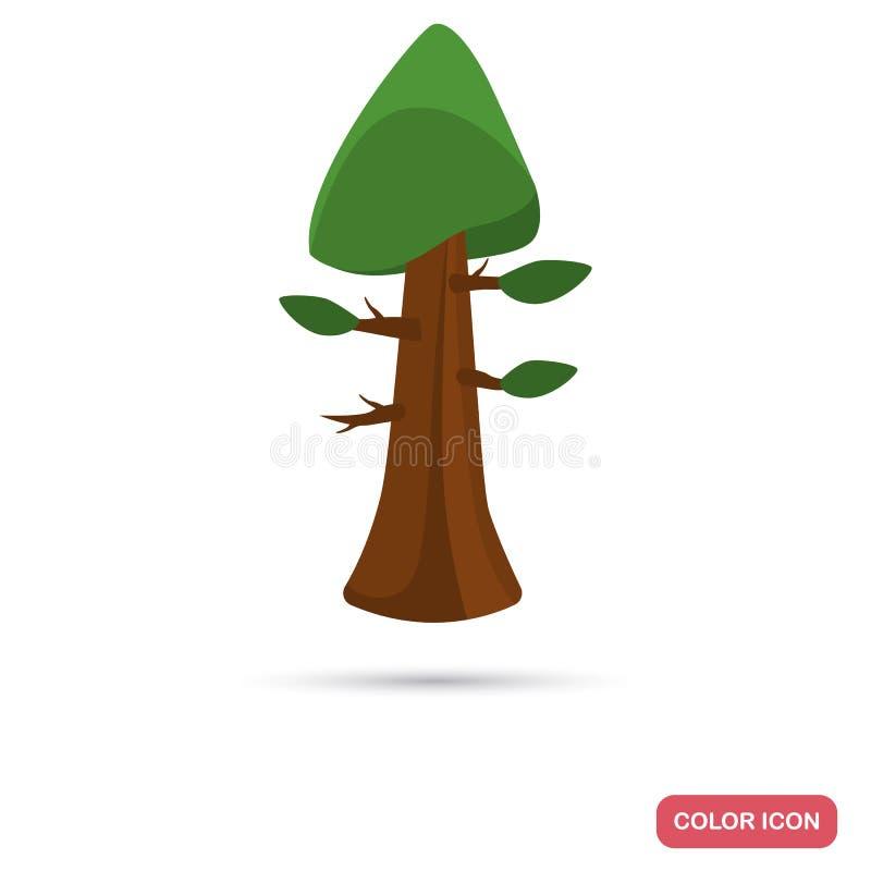 Ícone liso da cor da árvore da sequoia para a Web e o projeto móvel ilustração royalty free