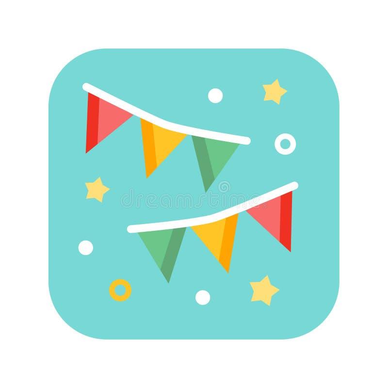 Ícone liso da cor das bandeiras do feriado Carnaval, aniversário, celebração, partido, ano novo ou conceito do festival ilustração do vetor