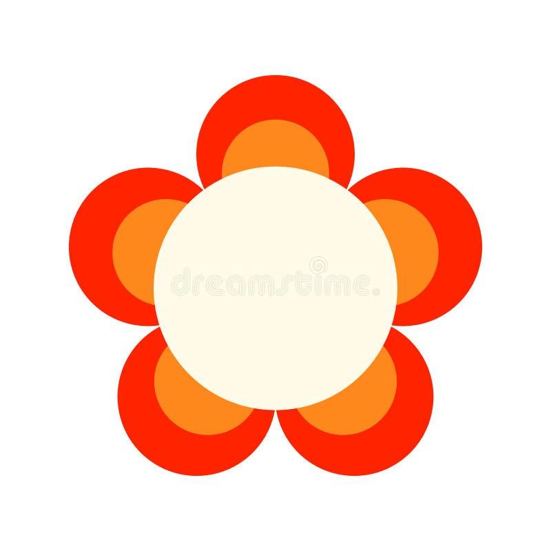 Ícone liso da cor decorativa de uma flor em um fundo branco Objeto floral, ilustração ilustração royalty free