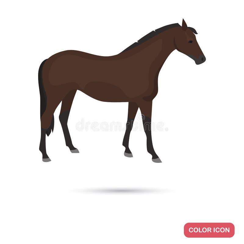 Ícone liso da cor do cavalo do puro-sangue ilustração stock